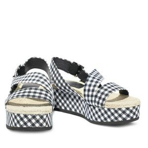 Megan gingham canvas platform slingback sandals
